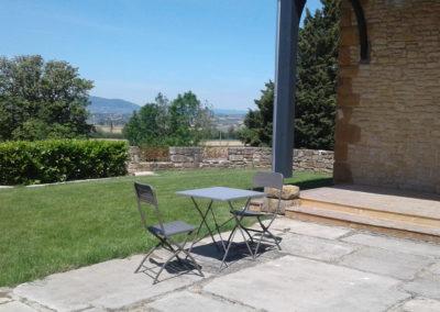 terrasse - domaine de la barbelière - réception - mariage - séminaires - gîte de groupe proche Lyon Vienne Valence